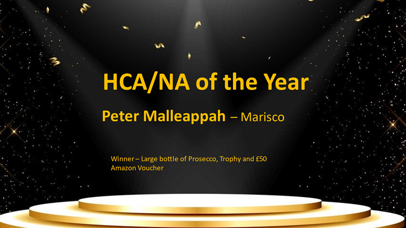 Congratulations to Peter – HCA of the year winner!